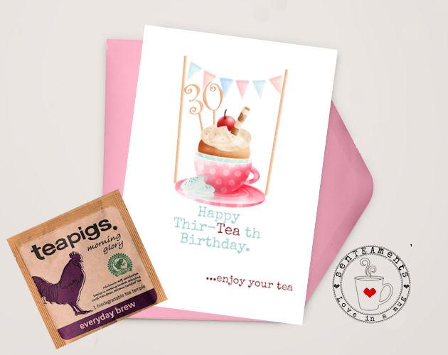 30th birthday card with teabag